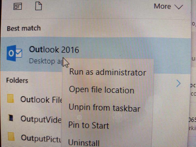 gaasen open outlook as administrator