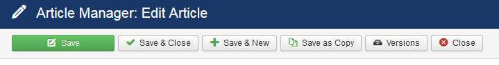 Joomla content version button